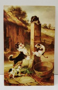 BAFFLED by Walter Hunt English Art, Cats & Dogs Postcard C22