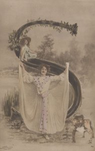 The Letter S Glamour Lady by British Bulldog Antique Postcard