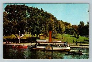 Montreal Qu- Quebec, La Fontaine Park, Steam Boat on Lake, Chrome Postcard