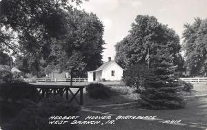 Herbert Hoover Birth Place, West Branch, Iowa, early real photo postcard, unused