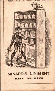 Minard's Liniment - DROP ACCIDENT -  Boston, Mass. VICTORIAN Trade Card
