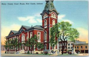 New Castle, Indiana Postcard HENRY COUNTY COURT HOUSE Street View Linen 1940s