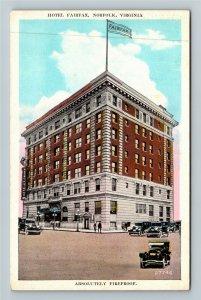 Norfolk VA-Virginia, Hotel Fairfax, Period Cars, Advertising Vintage Postcard