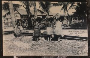 Mint New Guinea Real Picture Postcard RPPC Girls Carrying Water