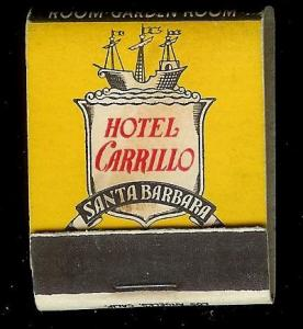HOTEL CARRILLO Santa Barbara 1940's Full Unstruck Matchbook