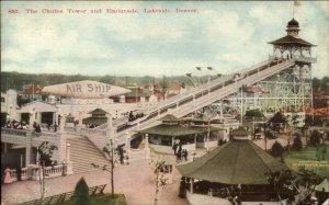 Denver CO Chutes Tower & Esplanade Merry-Go-Round? c1910 Postcard