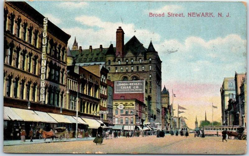 Newark, New Jersey Postcard BROAD STREET Downtown Scene w/ 1909 Cancel