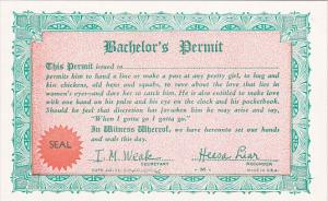 Humour Bachelor's Permit Card
