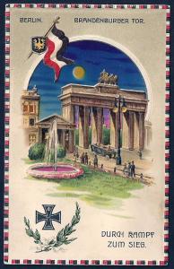 Brandenbrug Gate Berlin Germany HOLD TO LIGHT used c1910's