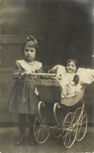 c1918 RPPC; Little Girl w/ Beautiful Doll in Fancy Doll Carriage Dresden Germany