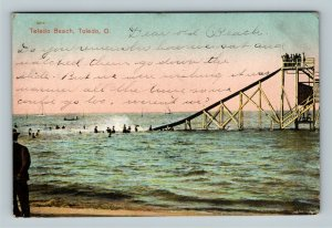 Toledo OH, Toledo Beach, Water Slide, Vintage Ohio c1909 Postcard