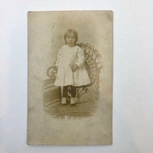 Antique RPPC  Girl Children Fashion Chair AZO Postcard Unposted
