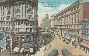 SAN FRANCISCO, California, 1900-1910s; Market St., East from Powell, Trolleys