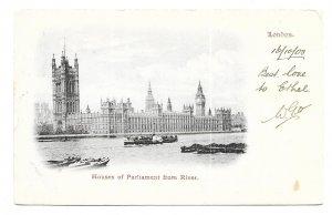 London to Upper Teddington, England 1903 Post Card Houses of Parliament, Perfin