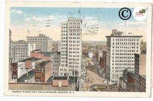 Vintage Postcard Market Street and Four Corners, Newark New Jersey Street Scene