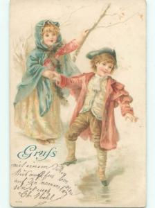 foreign Pre-1907 GIRL AND BOY HOLDING HANDS AC1395