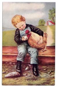 Boy Hen Chicken Did You Lay Dis Egg 1906 James Lee Postcard