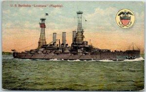Vintage WWI 1917 U.S. Navy Ship Postcard U.S. Battleship LOUISIANA (Flagship)