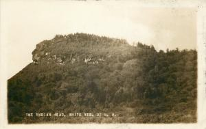 White Mountains New Hampshire~Indian Head Profile Rock~1920 Real Photo~RPPC