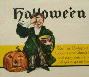 Vintage Halloween Postcard Nash Series H 425 Boy Green Jacket Goblins And Ghosts