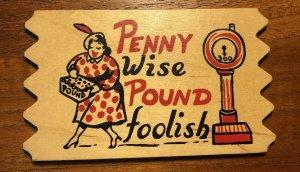 Vintage Wood Postcard Saw Tooth Beach Woman - PENNY WISE POUND FOOLISH