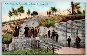 Hot Springs AR~Maurice Springs~Ladies & Gents Drink Hot Water~Steam Rises~c1910