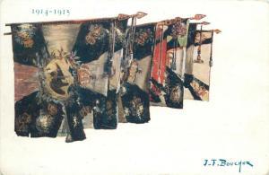 World War I patriotic flags signed J. F. Bouchor postcard