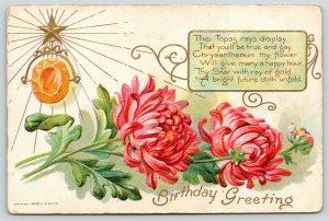 November Birthstone~Topaz Gem~Pink Chrysanthemum~Gold Leaf Emboss~1908 E NASH
