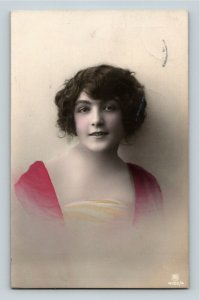Vintage 1916 Hand Painted Woman Mailed by a WWI European Military RPPC