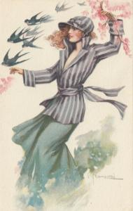 ART DECO ; Franzoni, 1910-20s; Female wearing striped jacket and green skirt