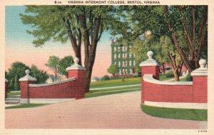 Bristol, Virginia, VA, Virginia Intermont College, Linen Vintage Postcard g8140