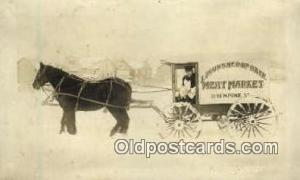 J.J. Gunshep of Skie, Meat Market  Real Photo Horse Drawn Advertising Postcar...