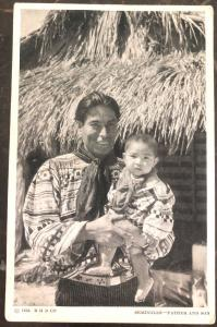 Mint RPPC Real Picture Postcard Native American Indian Seminoles Father & Son