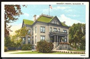 USA Postcard Governor's Mansion Springfield Illinois American Flag