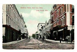 Little Rock Arkansas Postcard Markham St West From Main Falstaff Beer Sign#75557
