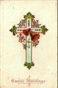 Vintage Postcard Easter Greetings Cross Bells Flowers 1908 Iowa Germany 1411