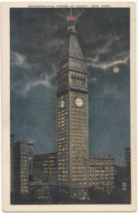 Metropolitan Tower at Night, New York, unused Postcard