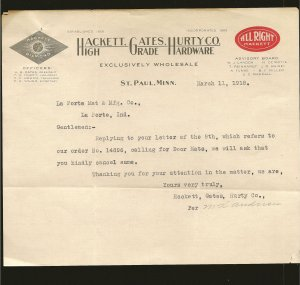 Hackett Gates Hurty Co St Paul Minn 1918 Invoice Used PLEASE READ NOTE