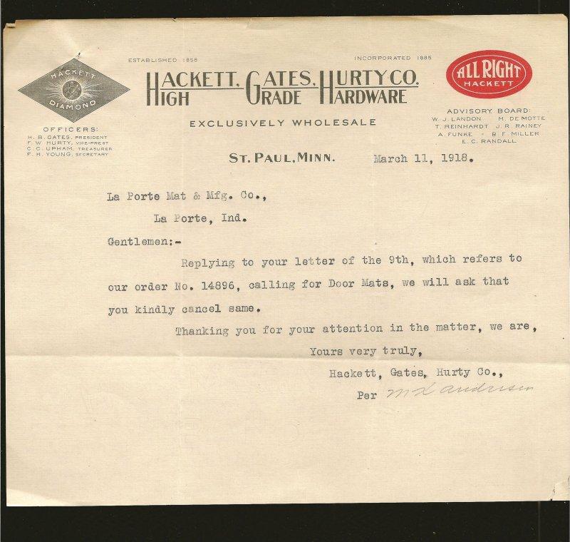 Hackett Gates Hurty Co St Paul Minn 1918 Invoice Used PLEASE READ NOTE