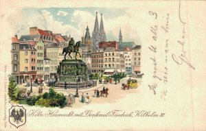 Germany Köln Heumarkt mit Denkmal Friedrich Wilhelm III Litho 04.78