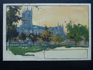 London WESTMINSTER ABBEY Artist Impression by artist A Pirkis c1903 Postcard