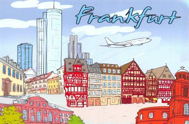Fine Art Quality Postcard, Frankfurt, Germany, Landmarks, City, View, Travel 00H