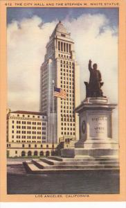 California Los Angeles City Hall and Stephen M White Statue