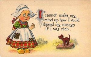 c. 1908, Little Dutch Girl and her Cat, Zercher Adv card,   Old Postcard
