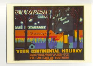 ad3080 - GW LNE LMS SR - For Your Continental Holiday, Night Scene - Postcard