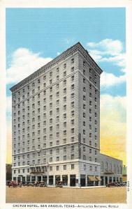 E5/ San Angelo Texas Tx Postcard c1930s Cactus Hotel Building