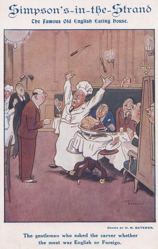 The Strand London Restaurant Chefs Fawlty Towers Type Disaster Comic Postcard