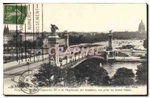 Old Postcard Perspective Paris Quai Alexandre III and the Esplanade des Inval...
