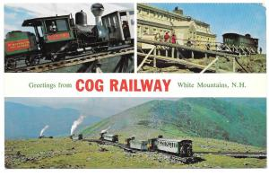 NH White Mountain Cog Railway Multiview Postcard