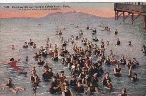 Utah Great Salt Lake Bathers Enjoying The Salt Water At Saltair Beach